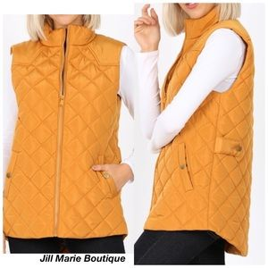 Quilted puffer vest mustard yellow NWT